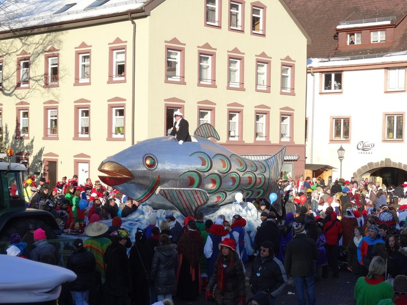 The Heringsdörfler enchant the visitors at the parades with huge floats from which sweets are thrown when the fool's call 'heia heia' is answered with 'Hering'.