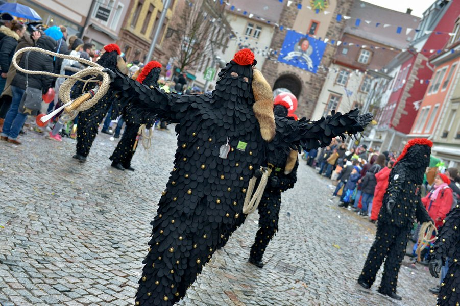 To drive out the winter, some clubs hold a three to four metre long carbat in their hands and demonstrate the art of whipping at the Fasnet processions.